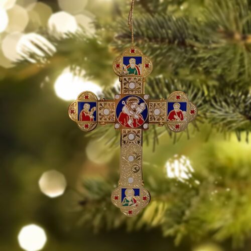 Pectoral Cross Ornament on Christmas tree