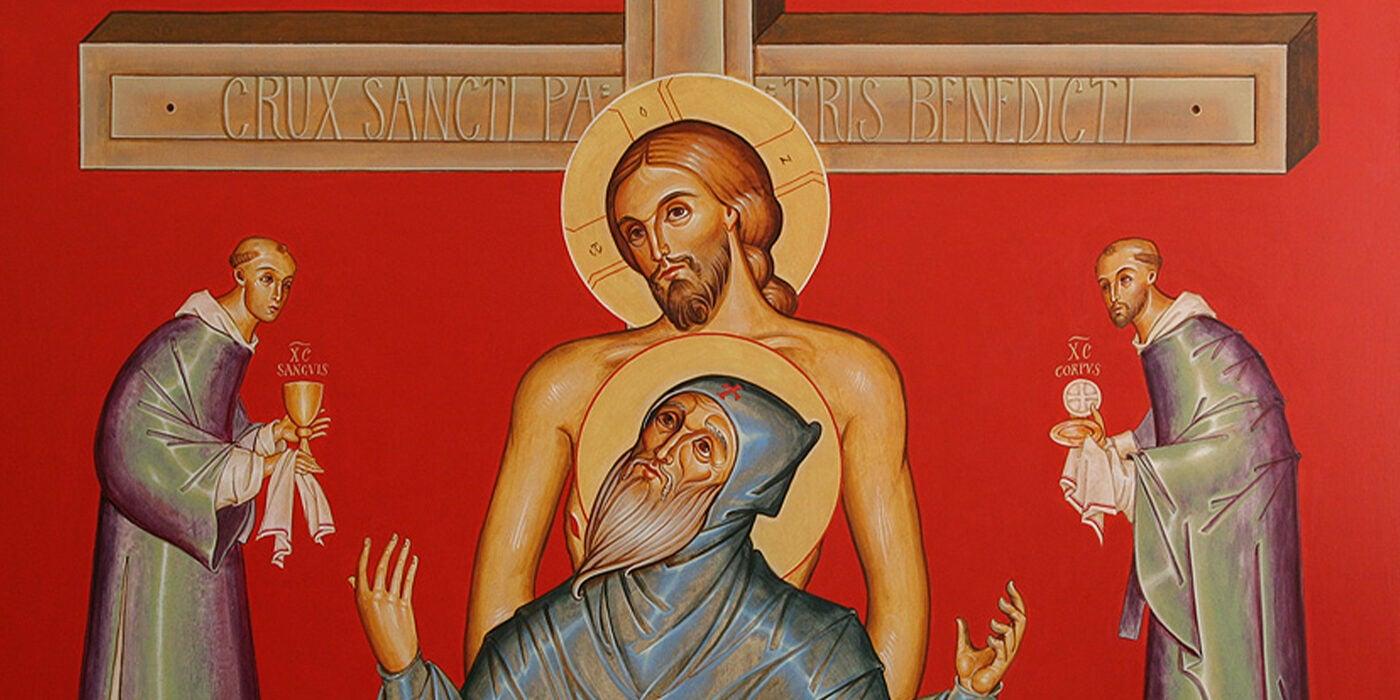 Death of St. Benedict detail