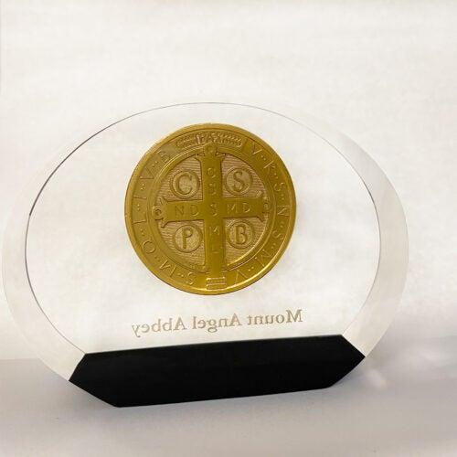 Benedictine Medallion Paperweight, back