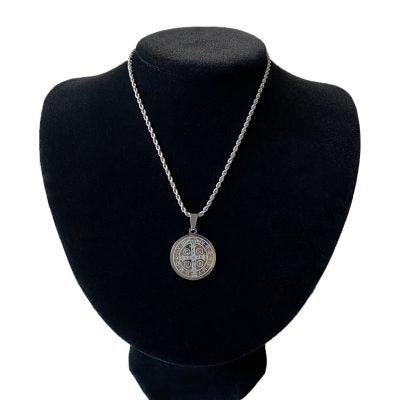 St. Benedict Engraved Medal Necklace