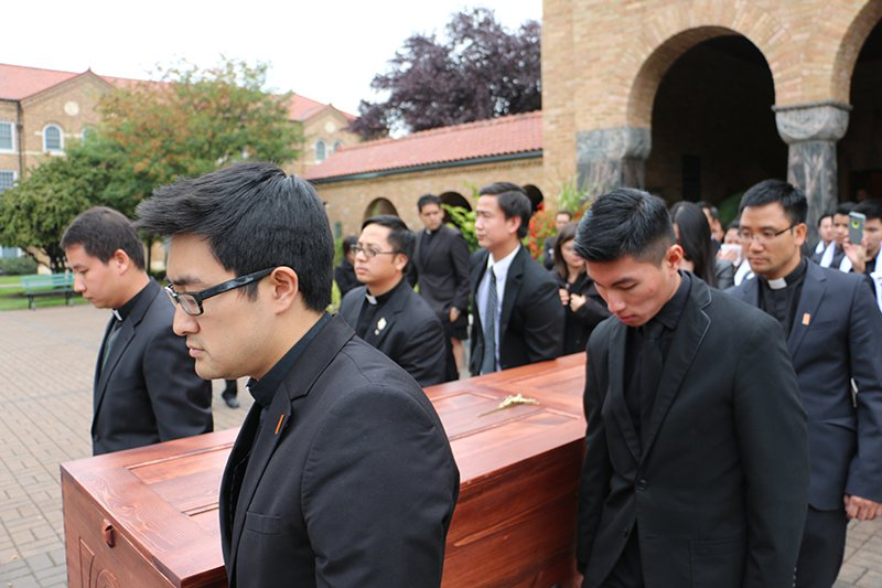 Fr Thien funeral procession-to gravesite on October 14, 2015